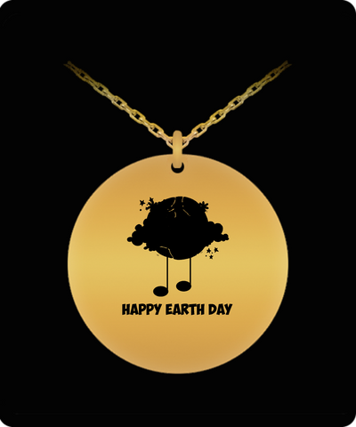 Happy Earth Day April Month 18K Gold Plated Chain - lkrseller, Laser Engraved Necklace ,