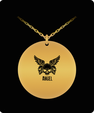 Skull Head Angel Wings Cool 18K Gold Plated Chain - lkrseller, Laser Engraved Necklace ,