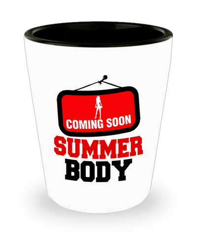 Coming Soon Summer Body Workout Fitness Drinking Shot Glass - lkrseller, Shot Glass ,