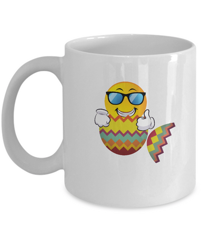 Happy Easter Day Funny Cute Emoji Smiling Shades Egg Coffee Mug - lkrseller, Mugs ,