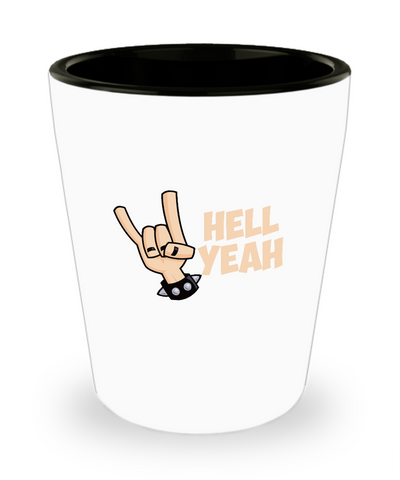 Hell Yeah Hand Gesture Rock Out Drinking Shot Glass - lkrseller, Shot Glass ,
