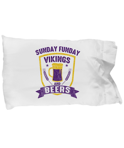 Sunday Funday Vikings And Beers Football Bedding Pillow Case - lkrseller, Pillow Case ,