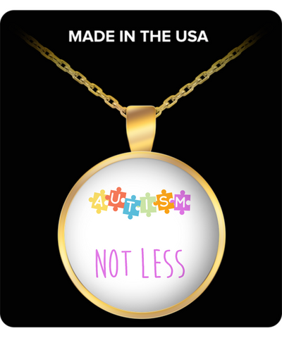 Autism Not Less Necklace Pendant Gold Plated - lkrseller, Laser Engraved Necklace ,