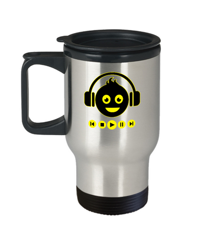 Emoji Headphones Play Music DJ Travel Mug - lkrseller, Travel Mug ,