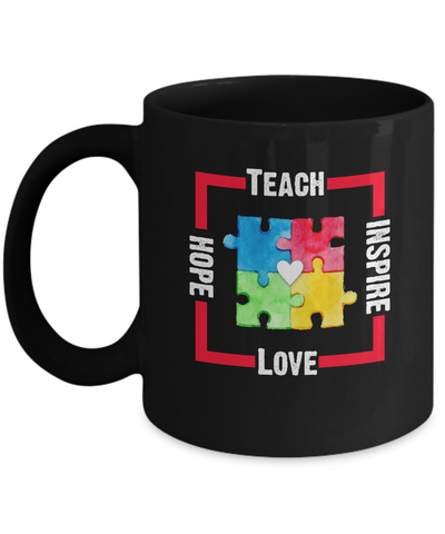 Autism Awareness Teach Hope Love Inspire Coffee Mug - lkrseller, Mugs ,