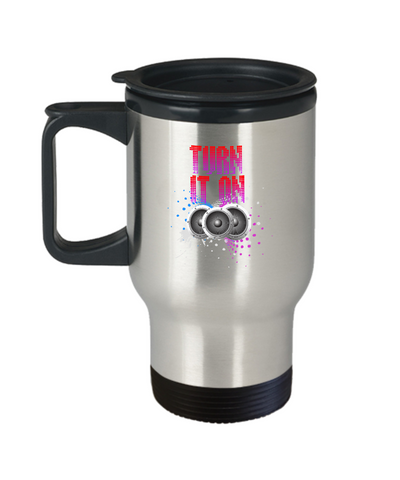 Turn It On Speakers Music Lover Beats Travel Mug - lkrseller, Travel Mug ,