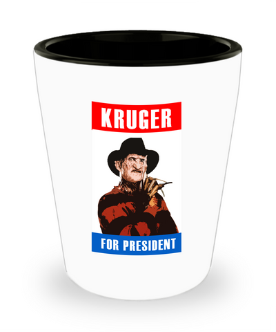 Kruger For President Funny Horror Movie Drinking Shot Glass - lkrseller shirts Shot Glass, t-shirts, hoodies, tank tops, custom