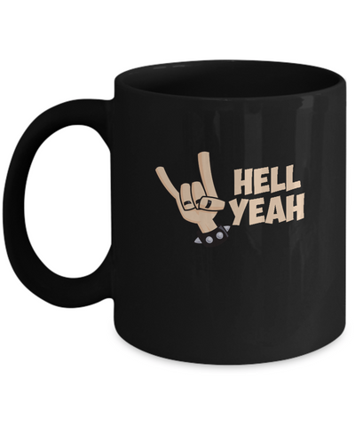 Hell Yeah Music Hand Gesture Rock Out Coffee Mug - lkrseller, Mugs ,