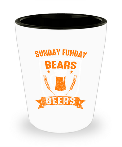 Sunday Funday Chicago Football and Beers Drinking Shot Glass - lkrseller, Shot Glass ,