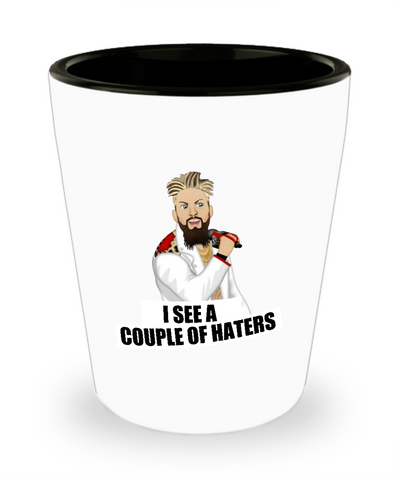 I See A Couple Of Haters Wrestling Funny Drinking Shot Glass - lkrseller, Shot Glass ,