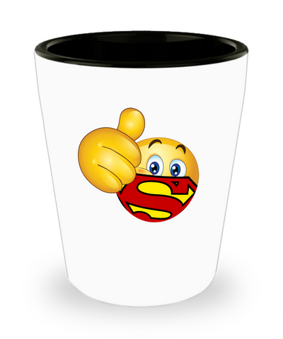 Super Hero S on The Chest Emoji Drinking Shot Glass - lkrseller, Shot Glass ,