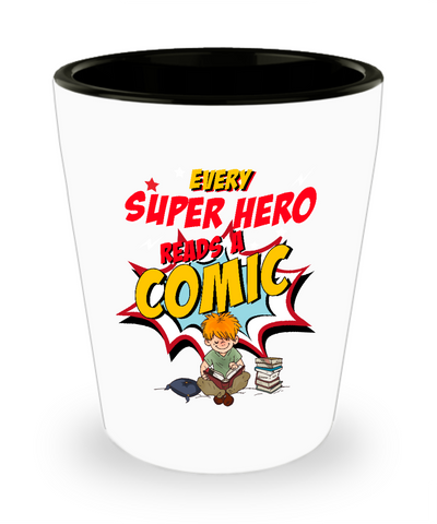 Every Super Hero Reads A Comic Drinking Shot Glass - lkrseller, Shot Glass ,