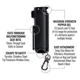 SABRE RED Pepper Spray Keychain with Quick Release Key Ring