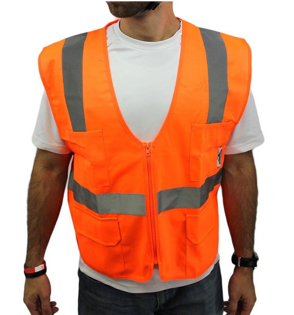 Class 2 Vest Orange Mesh with Zipper