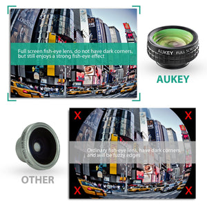 AUKEY 3 in 1 Clip-on Smartphone Camera Lens with fish-eye, macro and wide angle lens