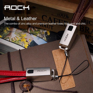 ROCK Lightning Data Charge USB Leather Cable Keychain