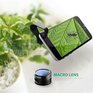 AUKEY 2 in 1 mini smartphone fish eye and macro camera lens