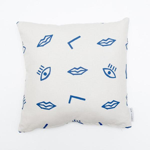 Confetti Face Pillow Cover - Electric Blue