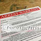 Joke Arrest warrant DIY Editable PDF instant digital download, home printable practical joke
