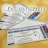 4 Custom event, concert style tickets, with envelope, DIY editable PDF Home printable, Digital download