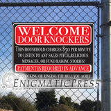 "Gag Welcome sign, ""Door Knockers will be charged!"" digital download Home printable PDF"