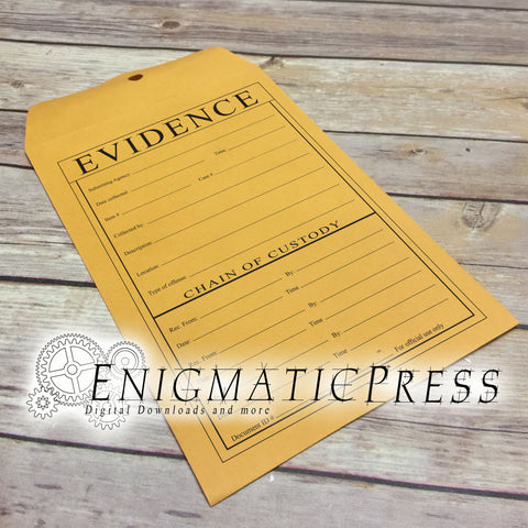 Chain of Evidence Graphics for 9x12 Envelope, DIY, home printable, digital download, PDF, PNG and JPG, files