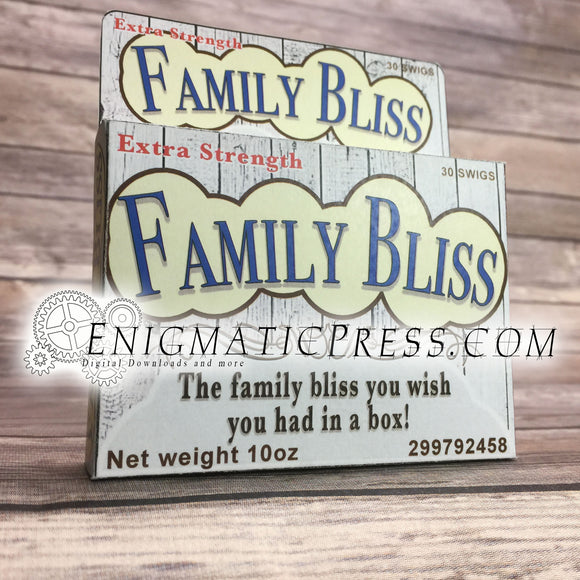 Family Bliss! DIY gift box, fake medication, funny holiday party favor, digital download, home printable PDF