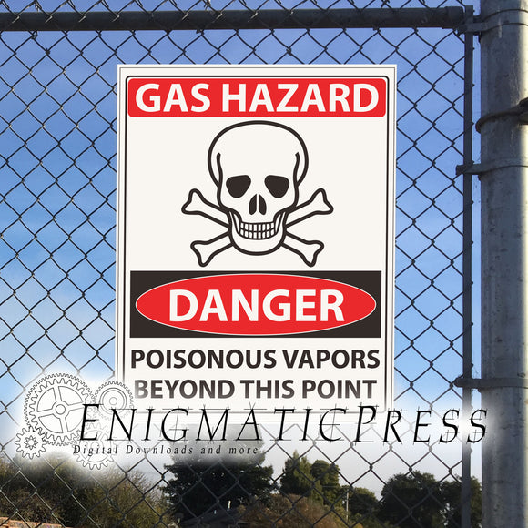 2 Gas Hazard sign graphics, 8.5