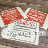 Set of 3 Prop Military style signs, No trespassing, Photos, Search, digital download, home printable PDF files