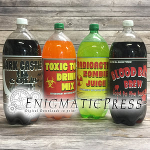 Halloween soda bottel party labels, wraps Home printable, digital download