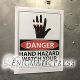 "Danger Hand Hazard sign with Graphic hand, 8.5""x11"" digital download, home printable PDF file"