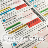 Editable Prescription bottle labels, with Hearts16 to 40 dram, easy DIY PDF, instant digital download print at home
