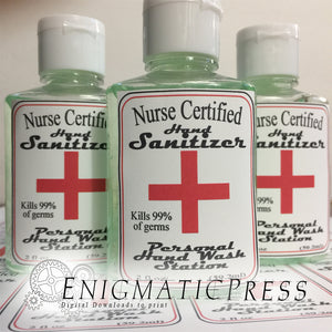 Nurse Certified Hand sanitizer Labels, fits 8fl oz, 236 ml size bottles, fun digital download, home printable Be safe!