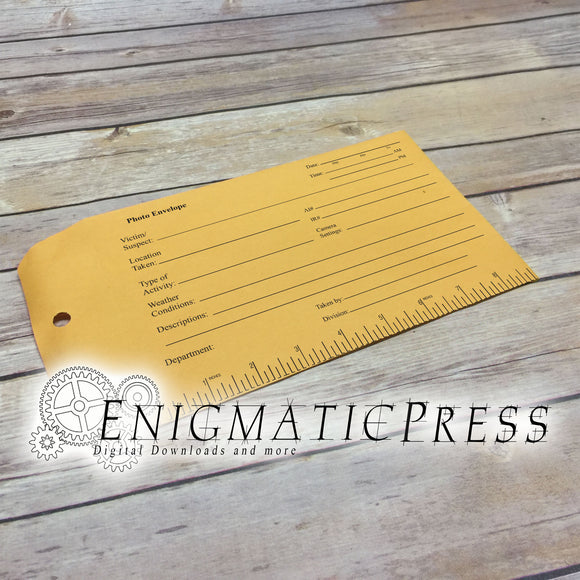 Photo Evidence Graphics For 6x9 Envelope, DIY, home printable, digital download, editable PDF, and PNG, files!