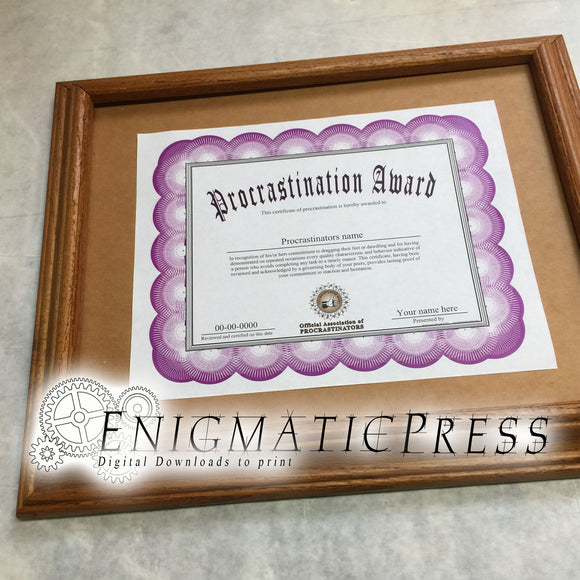 Procrastination Award with editable text, PDF digital download file Home printable, fun gag gift