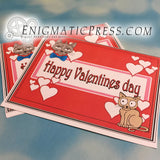 Valentines day greeting card with cat doodle, PDF file, instant digital download