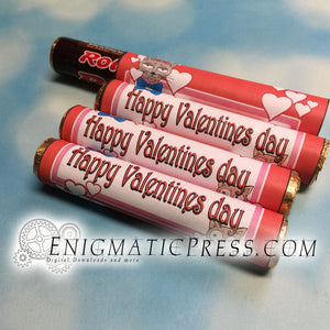 Valentines kitty doodle Rolo Wrappers DIY PDF, instant digital download home printable
