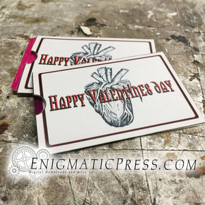 Gothic Happy Valentines day gift card sleeve, DIY digital download print at home