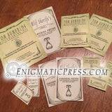 6 Old vintage bottle labels, Alif's vanishing, Spider oils, Rejuvenating fluids, aged digital download, home printable