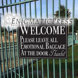"Welcome! Leave emotional baggage at door"" sign graphics, 8.5""x11"" digital download, home printable PDF file"