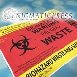 Bio-Hazard Trash bucket label, 8.5x11, PDF digital download, print at home