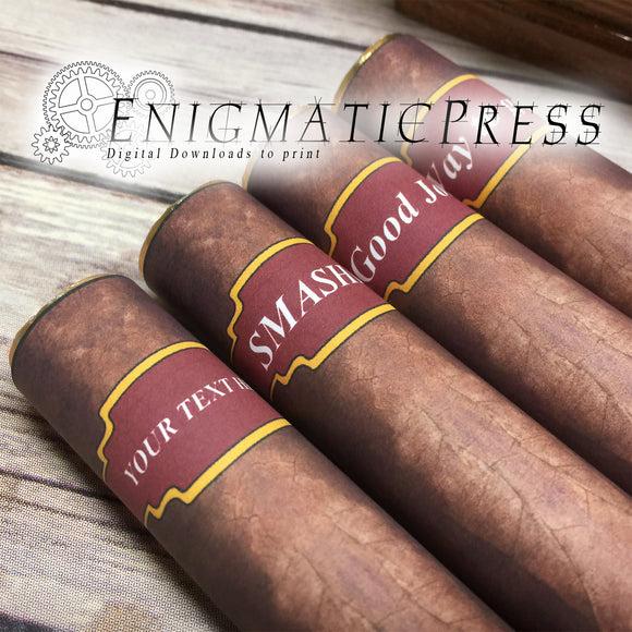 Cigar styles candy wrapper labels with editable name DIY PDF, fit 1.7 oz (48g) instant digital download