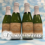 Happy Birthday Mini Champagne bottle labels, fit 8.4oz 250ml, instant download, home printable PDF