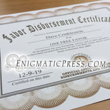 Favor disbursement certificate, with editable text, home printable PDF file, digital download