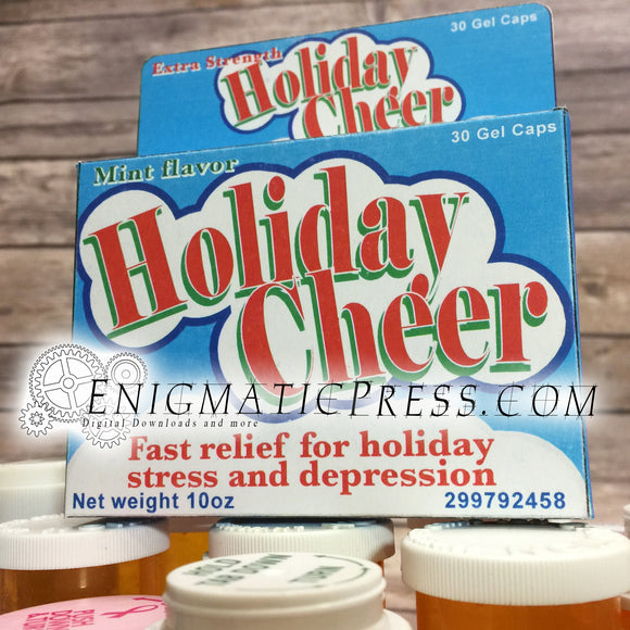 Holiday Cheer! DIY gift box, fake medication, funny holiday party favor, digital download, home printable PDF