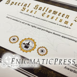 2 Halloween awards! Best Costume and Most Creative Costume, editable PDF, home printable certificate, Digital download