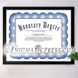 Honorary Degree certificate, PDF with editable text, Home printable, digital download