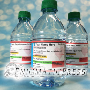 5 Editable Prescription style water bottle labels with hearts, PDF, Home printable, digital download