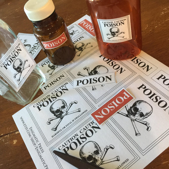 17 Poison labels, home printable PDF, instant digital download