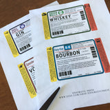 Medical liquor, pharmacy labels, gin, whiskey, bourbon, vodka, digital download print at home PDF